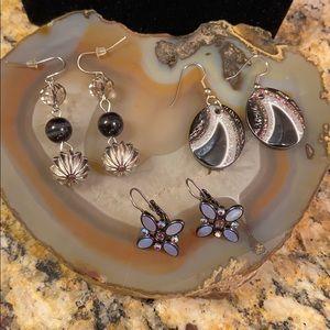 3 pair black & silver earrings GUC